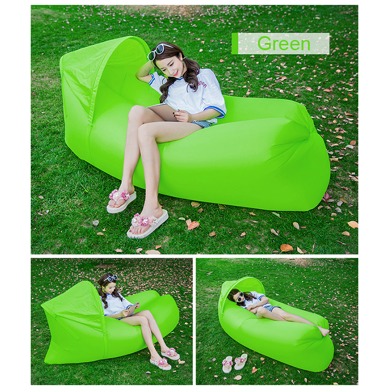 Outdoor Foldable Sleeping Bag Fast inflatable Air Lazy Lounging Sofa Couch Bed with Sun Visor - Green