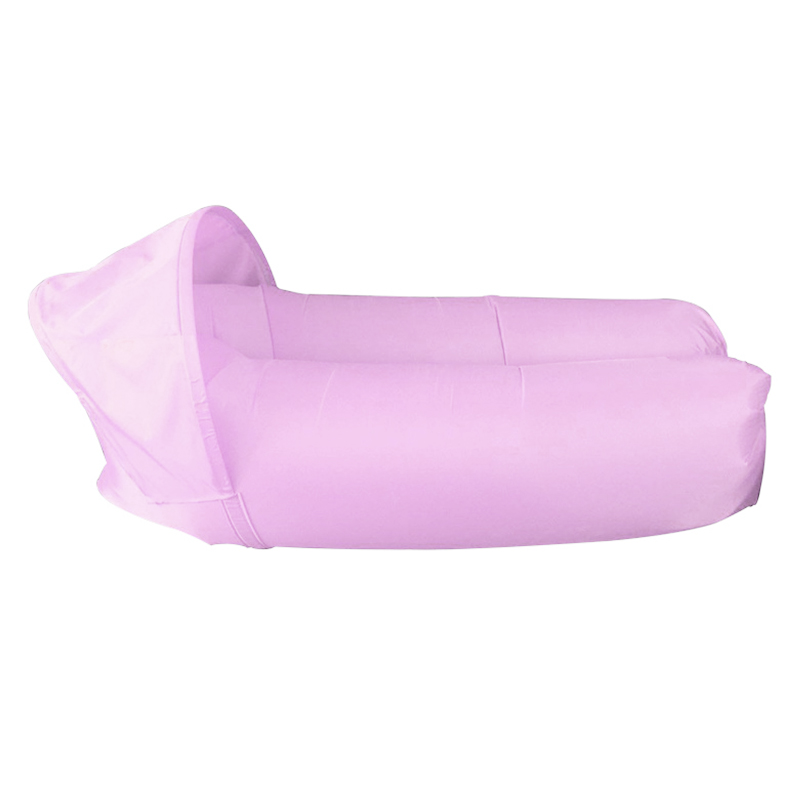 Outdoor Foldable Sleeping Bag Fast inflatable Air Lazy Lounging Sofa Couch Bed with Sun Visor - Pink