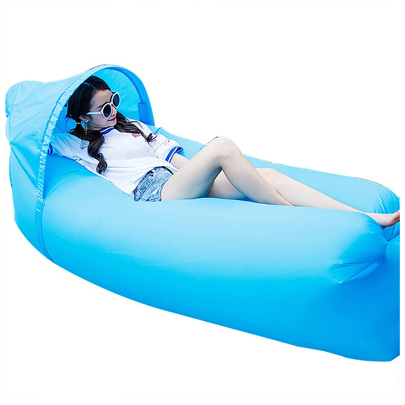Outdoor Foldable Sleeping Bag Fast inflatable Air Lazy Lounging Sofa Couch Bed with Sun Visor - Sky Blue
