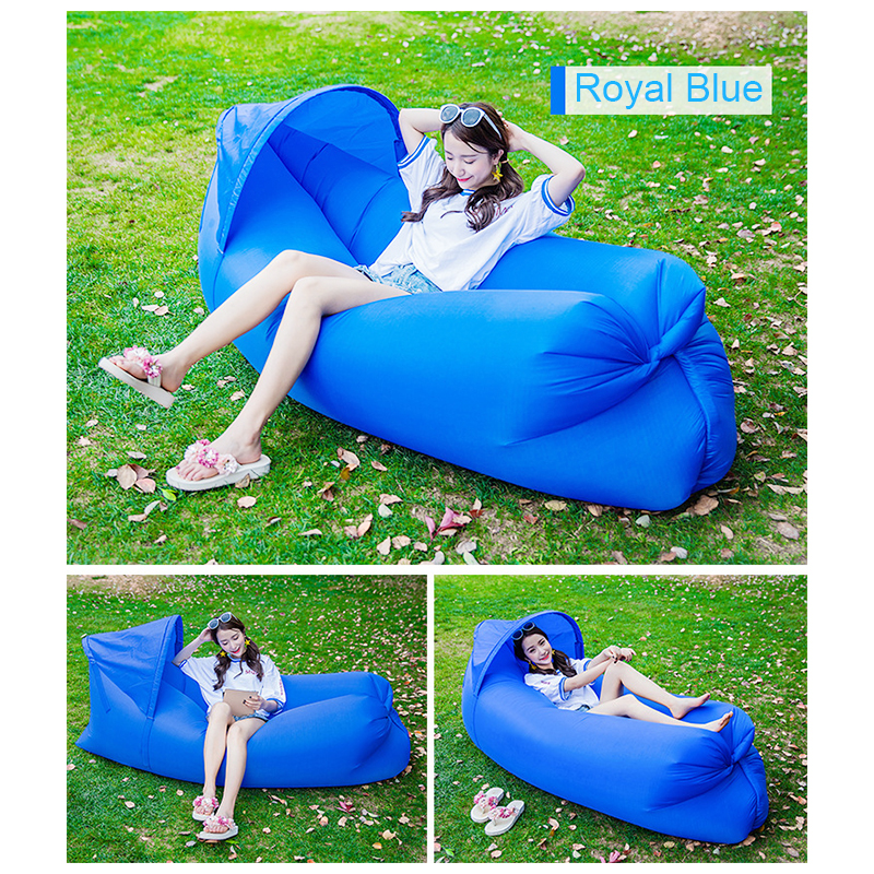 Outdoor Foldable Sleeping Bag Fast inflatable Air Lazy Lounging Sofa Couch Bed with Sun Visor - Royal Blue