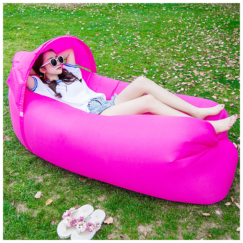 Outdoor Foldable Sleeping Bag Fast inflatable Air Lazy Lounging Sofa Couch Bed with Sun Visor - Rose Red