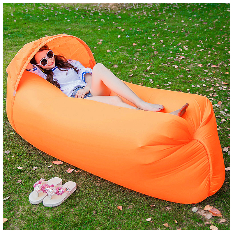 Outdoor Foldable Sleeping Bag Fast inflatable Air Lazy Lounging Sofa Couch Bed with Sun Visor - Orange