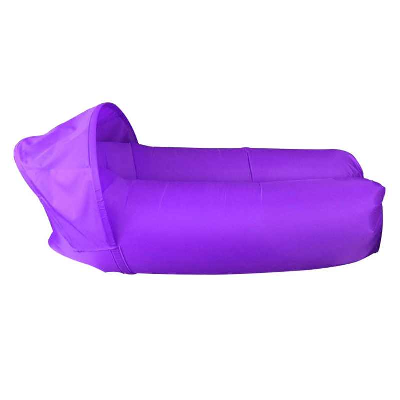 Outdoor Foldable Sleeping Bag Fast inflatable Air Lazy Lounging Sofa Couch Bed with Sun Visor - Purple