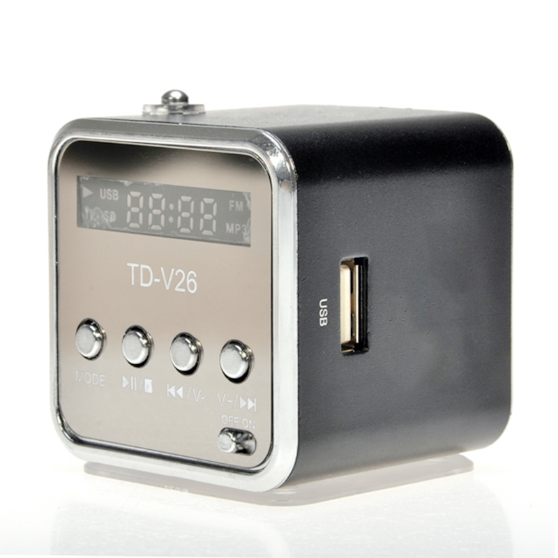 TD-V26 Mini Portable Speaker Digital LCD Micro SD/TF/USB/FM Radio Stereo Music Player Box - Black