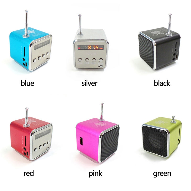 TD-V26 Mini Portable Speaker Digital LCD Micro SD/TF/USB/FM Radio Stereo Music Player Box - Silver