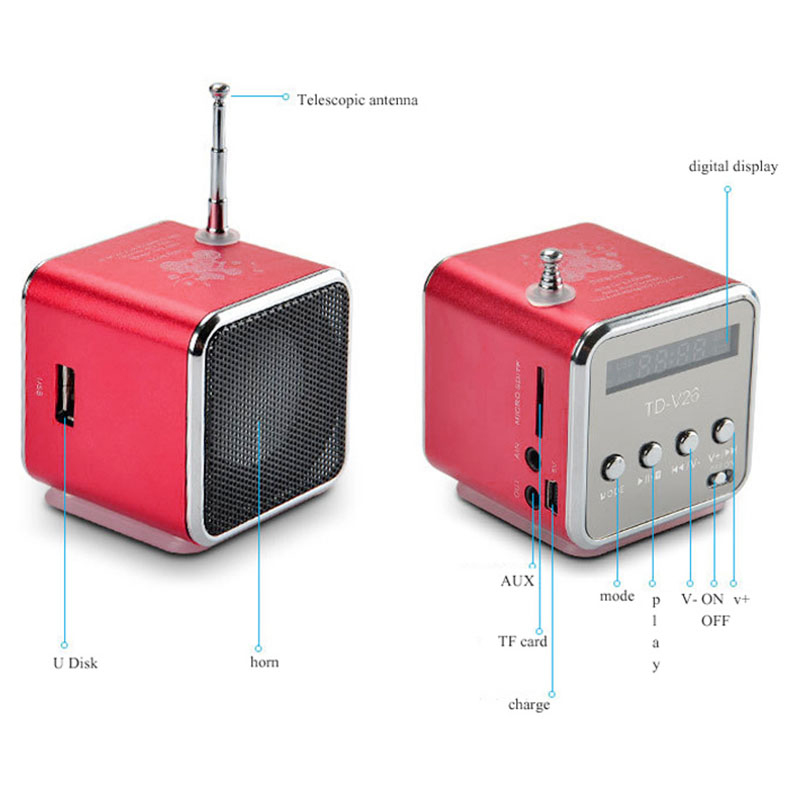 TD-V26 Mini Portable Speaker Digital LCD Micro SD/TF/USB/FM Radio Stereo Music Player Box - Red