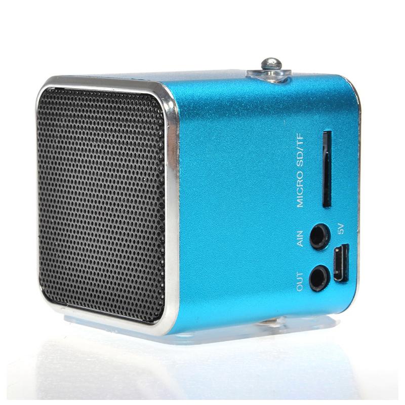 TD-V26 Mini Portable Speaker Digital LCD Micro SD/TF/USB/FM Radio Stereo Music Player Box - Blue
