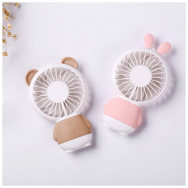 Portable Mini Handheld Rabbit USB Fan Cooler with Colorful LED Light and Rope - Pink