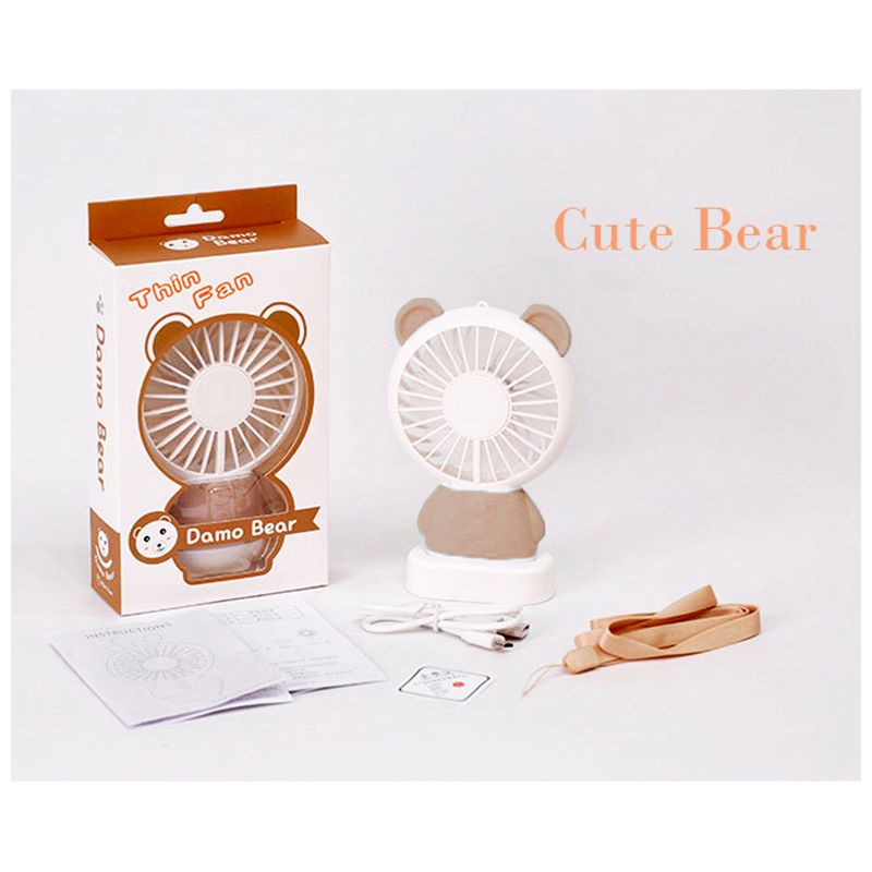 Mini Bear Handheld Fan Portable USB Rechargeable Colorful LED Light Cooler with Rope Base - Brown