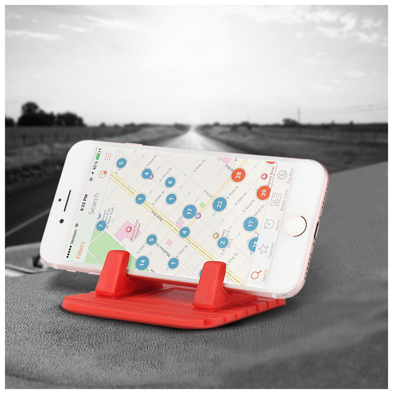 Anti-slip Silicone Universal Car Mount Dashboard Pad Mat Phone Holder - Red