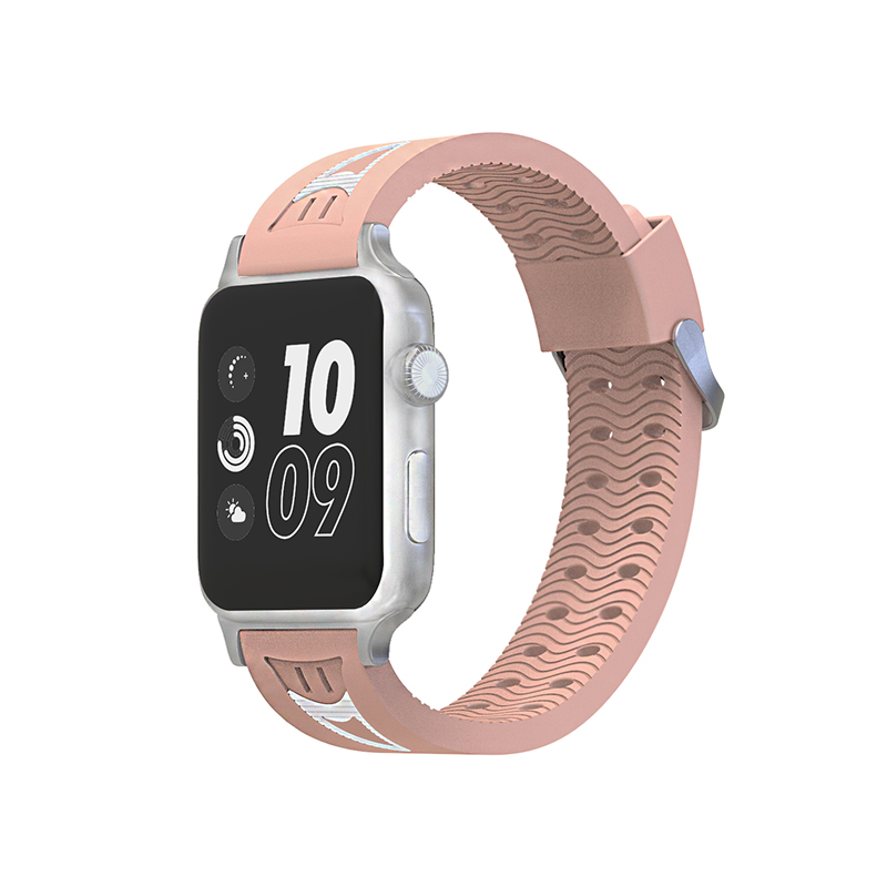 38mm Apple Watch Soft Silicone Watchband Breathable Flexible Sports Bracelet Wrist Strap - Pink