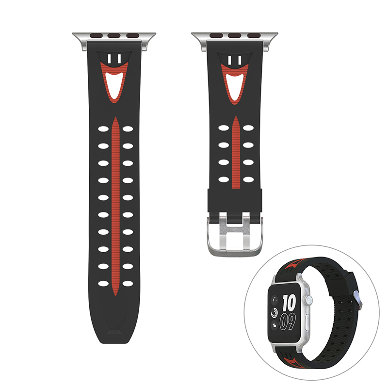 42mm Silicone Sports Replacement Watchband Soft Flexible Watch Wrist Strap for Apple Watch - Black+Red