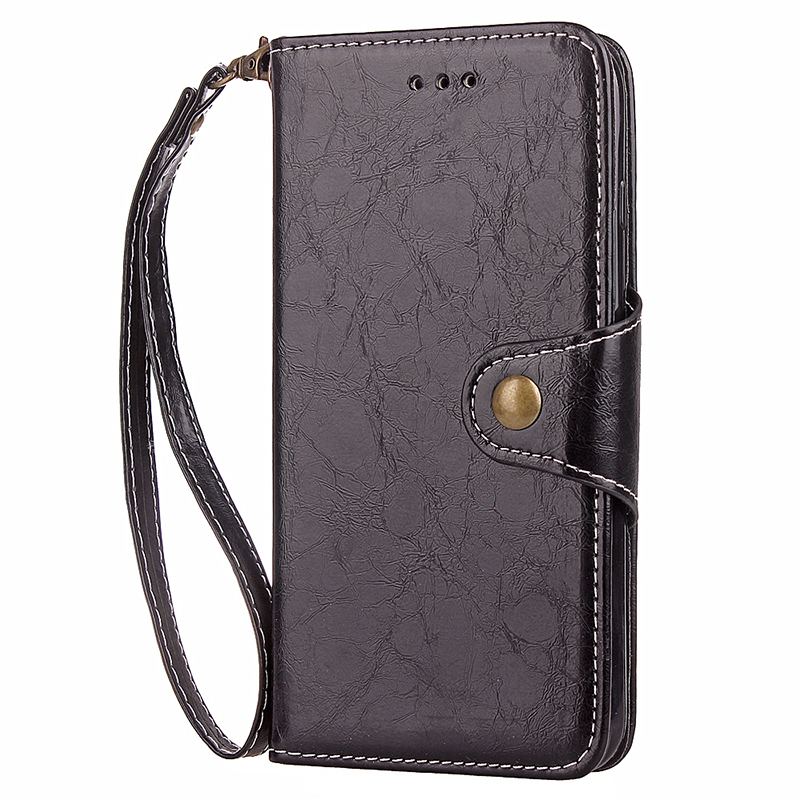 Sony XZ Retro Vintage PU Leather Wallet Flip Stand Case Cover with Hanging Loop - Black