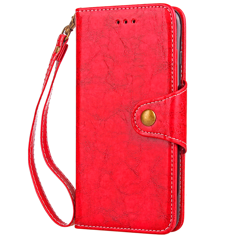 Sony XZ1 Vintage PU Leather Shockproof Case Flip Stand Wallet Cover with Hanging Loop - Red