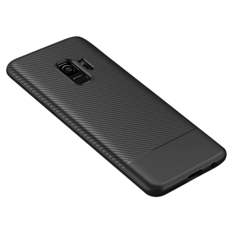 Slim Carbon Fiber Soft TPU Silicone Shockproof Case Back Cover for Samsung S9 - Black