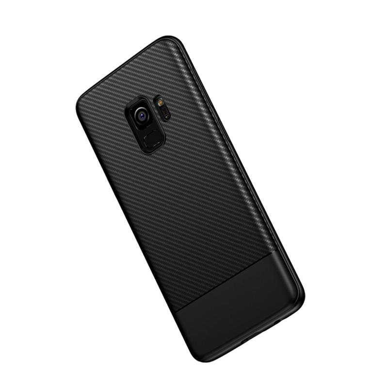 Slim Carbon Fiber Soft TPU Silicone Shockproof Case Back Cover for Samsung S9 - Black