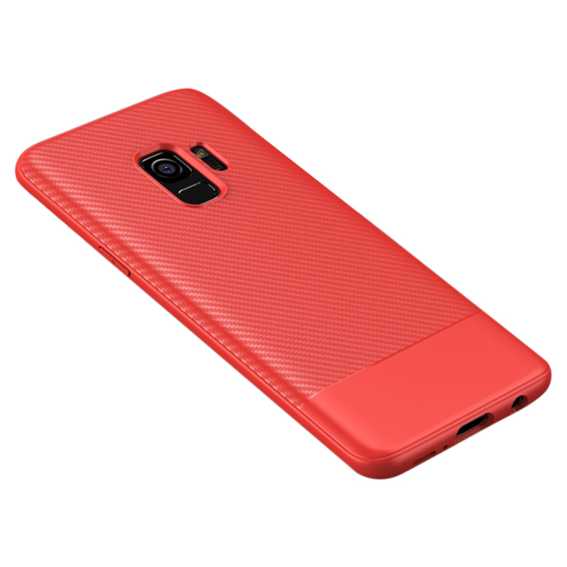Slim Carbon Fiber Soft TPU Silicone Shockproof Case Back Cover for Samsung S9 - Red