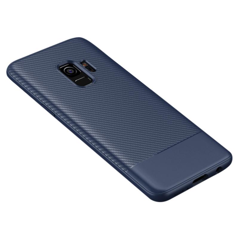 Slim Carbon Fiber Soft TPU Silicone Shockproof Case Back Cover for Samsung S9 - Blue