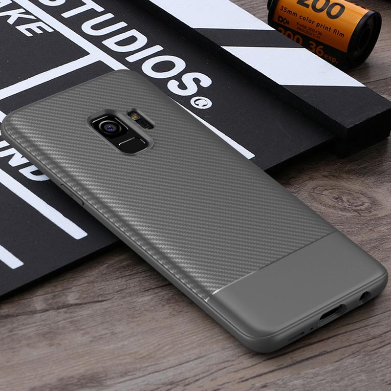 Slim Carbon Fiber Soft TPU Silicone Shockproof Case Back Cover for Samsung S9 - Grey