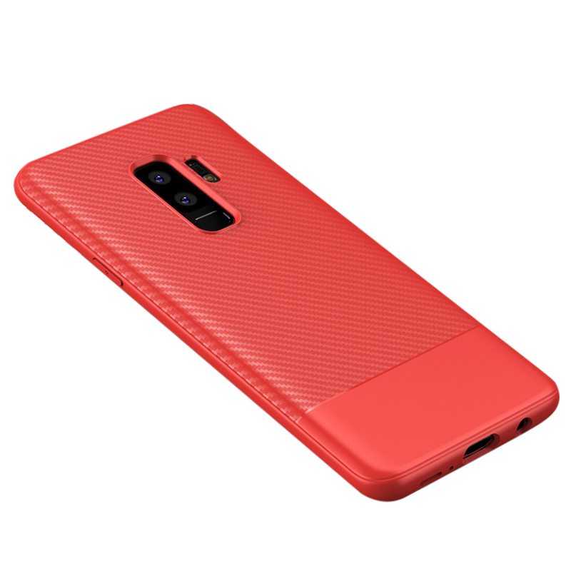 Thin Slim Carbon Fiber TPU Case Soft Flexible Rubber Bumper Shockproof Back Cover for Samsung S9 Plus - Red