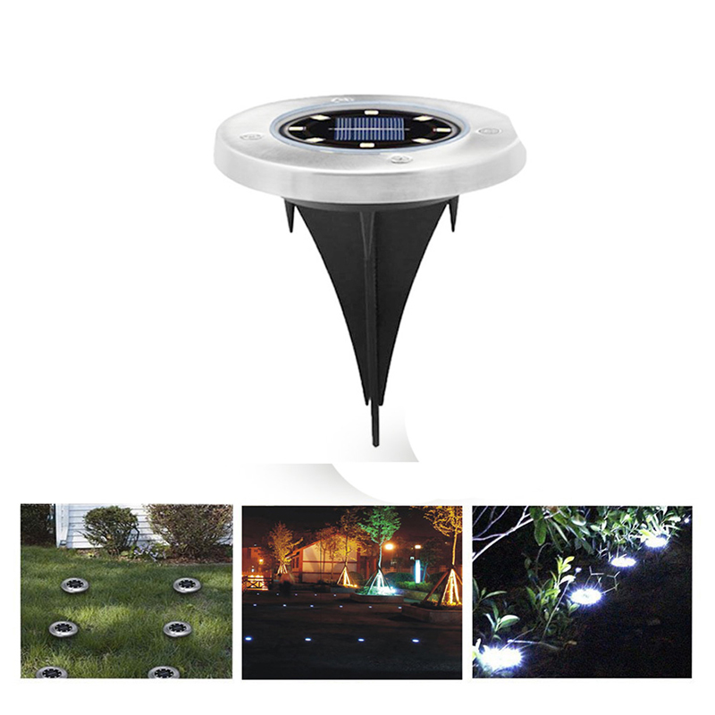 8LED Solar Powered Path Ground Lights Waterproof Outdoor Garden Landscape Night Lamp - White