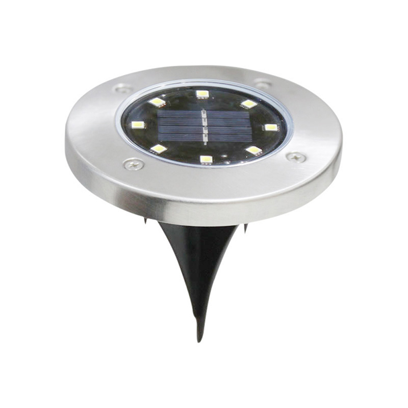 8LED Solar Powered Path Ground Lights Waterproof Outdoor Garden Landscape Night Lamp - White