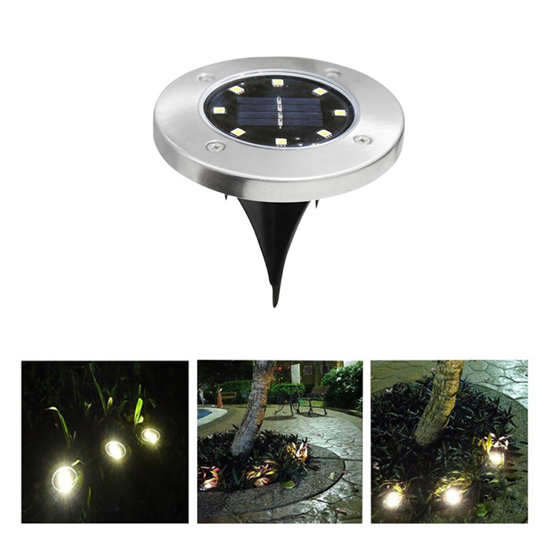8LED Solar Powered Path Ground Lights Waterproof Outdoor Garden Landscape Night Lamp - Warm White