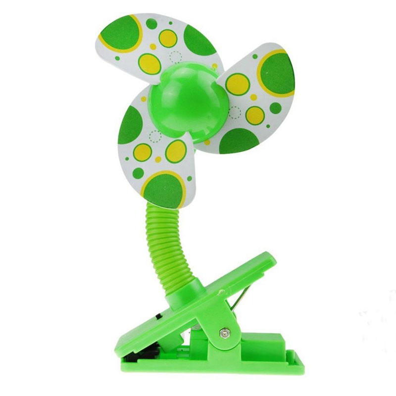 Portable Safe Blades Flexible Clip On Mini Cooling Fan for Baby Pram Stroller - Green