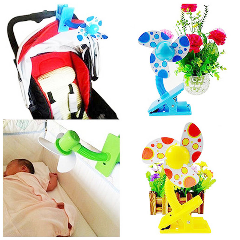 Portable Safe Blades Flexible Clip On Mini Cooling Fan for Baby Pram Stroller - Green
