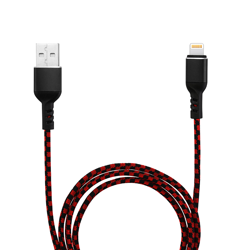 1M Knit Woven 8pin Cable Data Transfer Charge Cable for iPhone 6/7/8/X - Black + Red