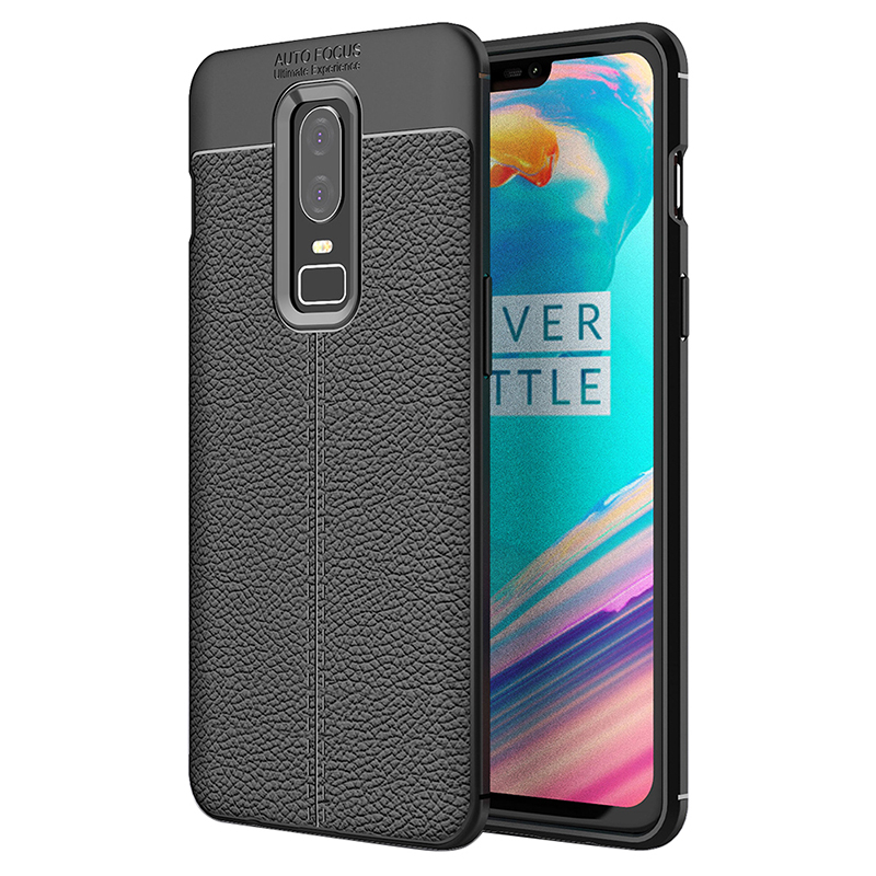 Luxury Litchi Stria Shockproof Soft TPU Case Back Cover for OnePlus 6 - Black