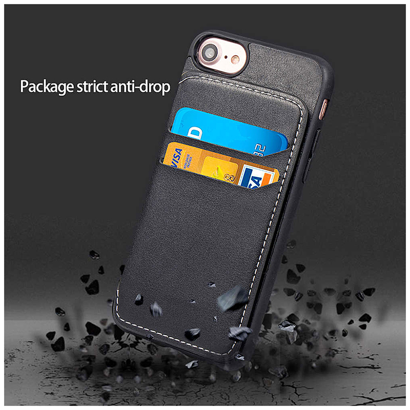 Magnetic Wallet PU Leather Built-in TPU Bumper Shockproof Case Back Cover for iPhone 7/8 - Black