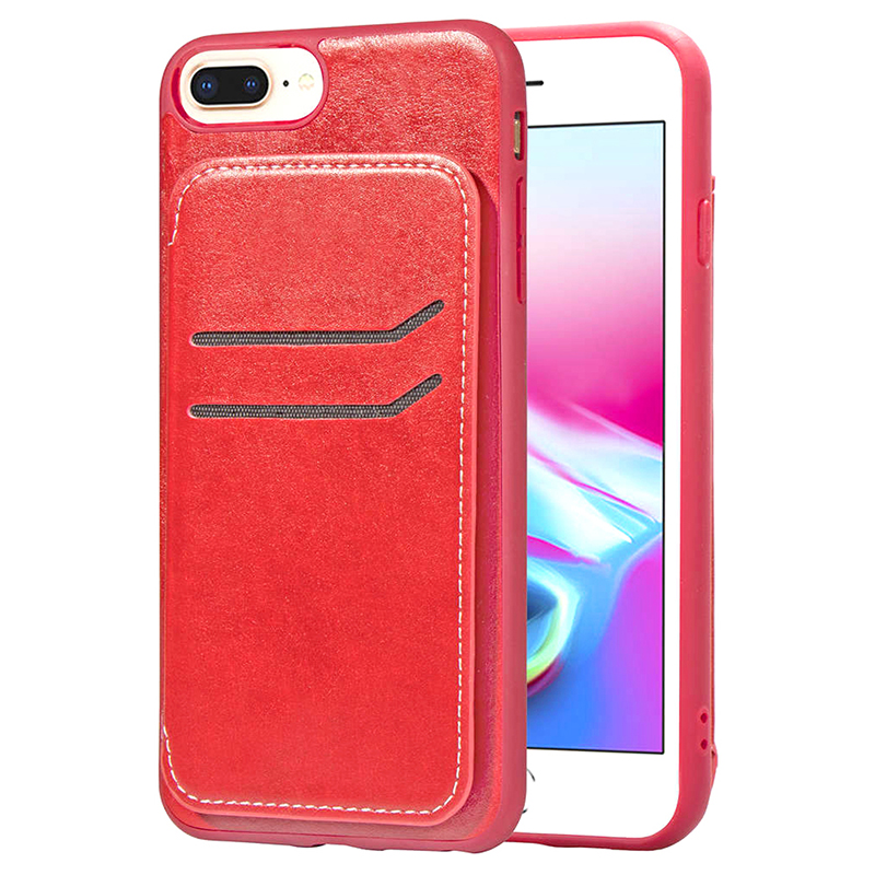 Shockproof PU Leather TPU Bumper Case Magnetic Flip Stand Wallet Back Cover for iPhone 7/8 Plus - Red
