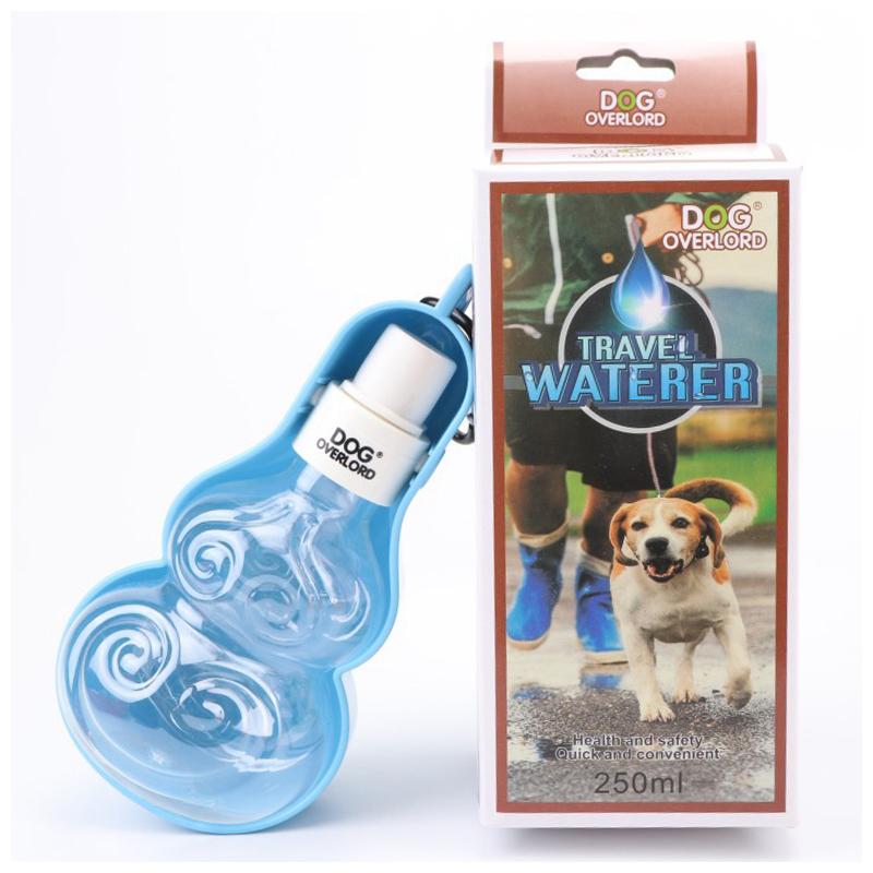 250ML Pet Dog Water Dispenser Portable Outdoor Drinking Feeding Bottle Feeder Bowl - Blue