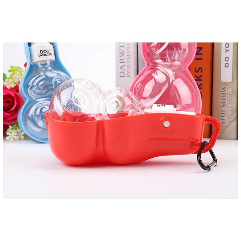 500ML Portable Pet Dog Water Bottle Outdoor Travel Feed Drinking Dispenser Feeding Bowl - Red