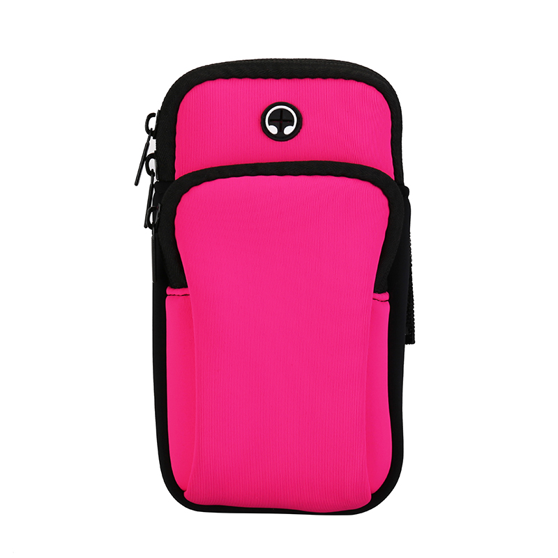 Outdoor Sports Waterproof Armband Mobile Phone Bag Zipper Cover - Rose Red