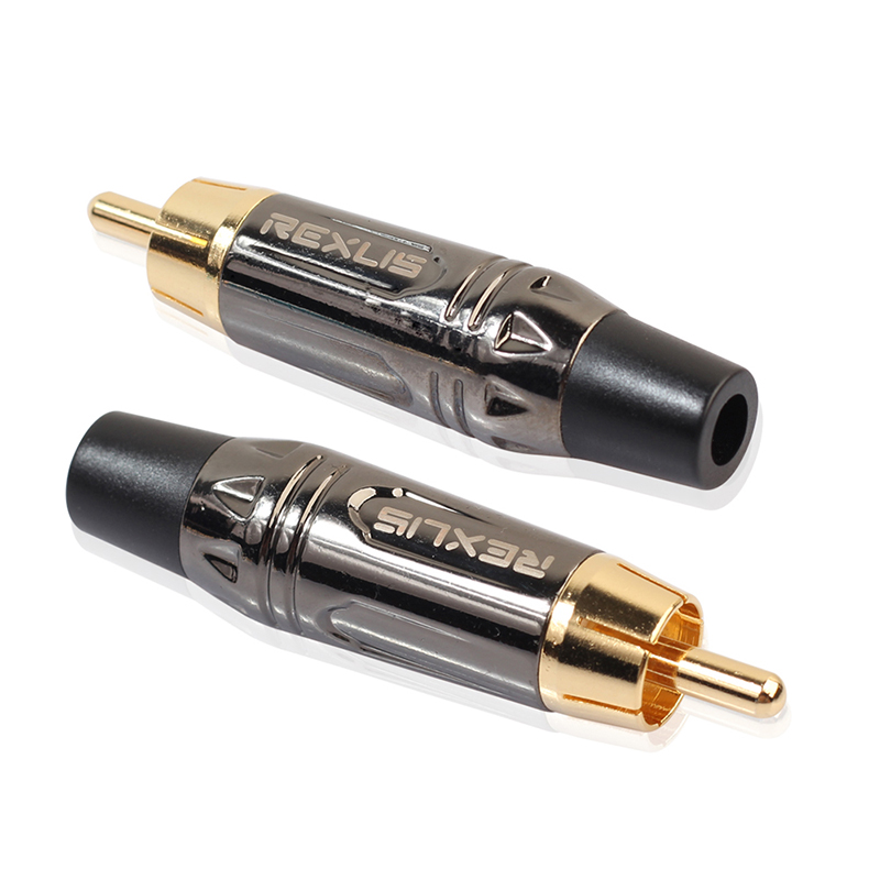 RCA Male Plug Gold Plated Audio Solder Connector Adapter - Pearl Nickel