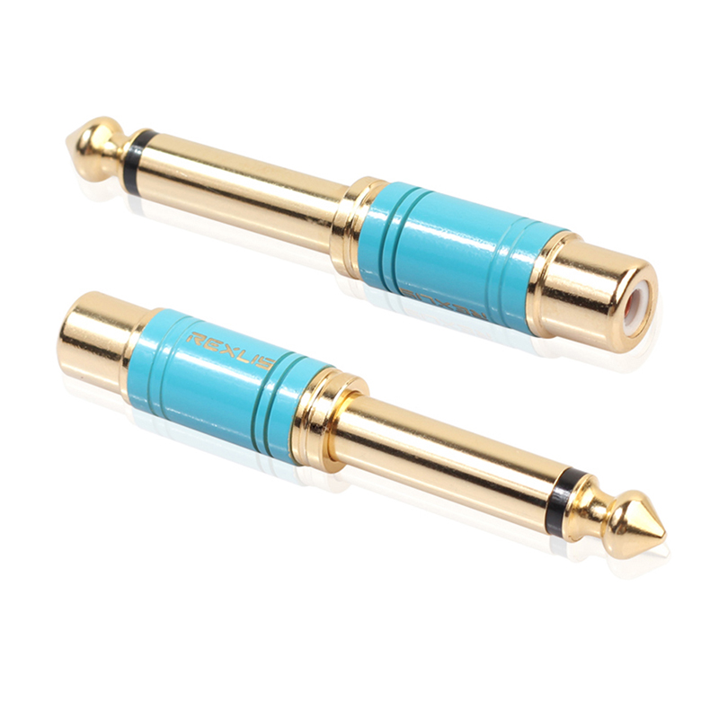 6.35mm 1/4 Inch Male to RCA Female Plug Audio Jack Converter Connector Adapter for Headphone - Blue