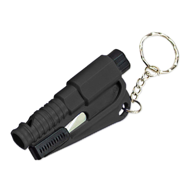 2-in-1 Emergency Mini Safety Hammer Car Window Glass Breaker Life-saving Tool Key Chain - Black