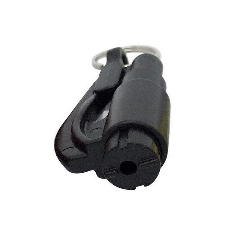 2-in-1 Emergency Mini Safety Hammer Car Window Glass Breaker Life-saving Tool Key Chain - Black