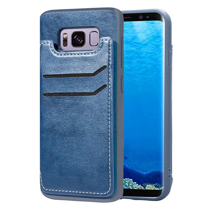 Shockproof Built-in TPU PU Leather Case Magnetic Card Holders Flip Stand Wallet Back Cover for Samsung S8 - Blue