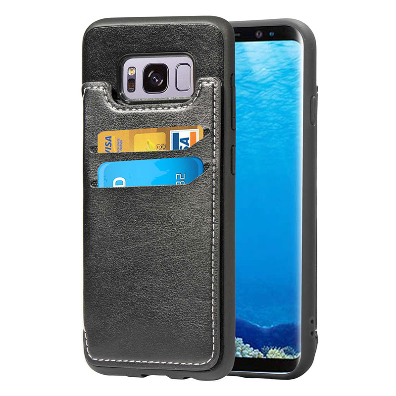 Luxury PU Leather+TPU Bump Wallet Stand Case Back Cover with Card Slots for Samsung S8 Plus - Black