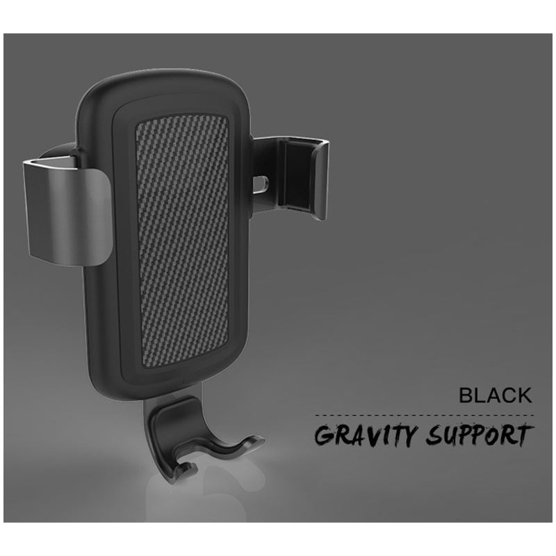 Qi Wireless Car Charger Mount Air Vent Fast Charge Charging Gravity Phone Holder Stand - Black