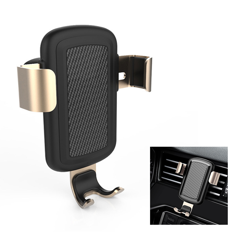 Qi Wireless Car Charger Mount Air Vent Fast Charge Charging Gravity Phone Holder Stand - Golden