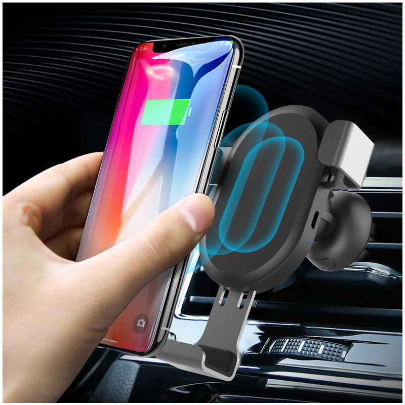 BQ001 Qi Fast Charge Wireless Gravity Car Charger Mount Phone Holder Stand
