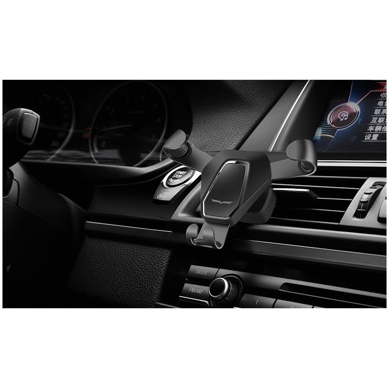 360 Degree Rotation Metal Gravity Car Air Vent Phone Holder Stand Mount - Black