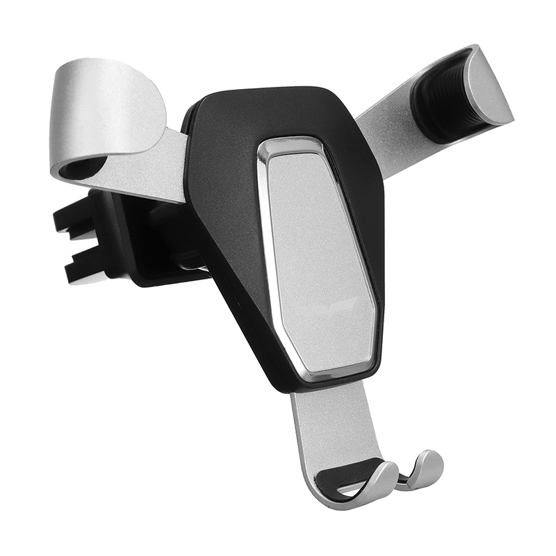 360 Degree Rotation Metal Gravity Car Air Vent Phone Holder Stand Mount - Silver