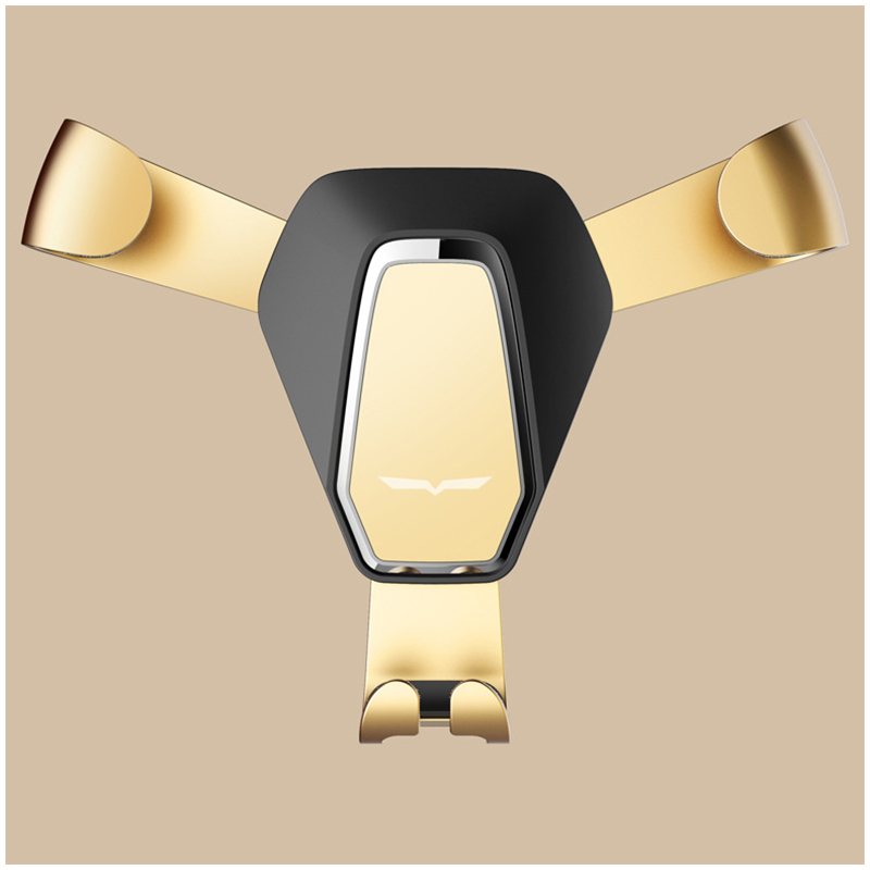 360 Degree Rotation Metal Gravity Car Air Vent Phone Holder Stand Mount - Golden
