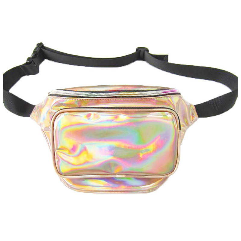 Fanny Waist Bag Shiny Pack Bum Wallet for Women Festival Travel - Golden