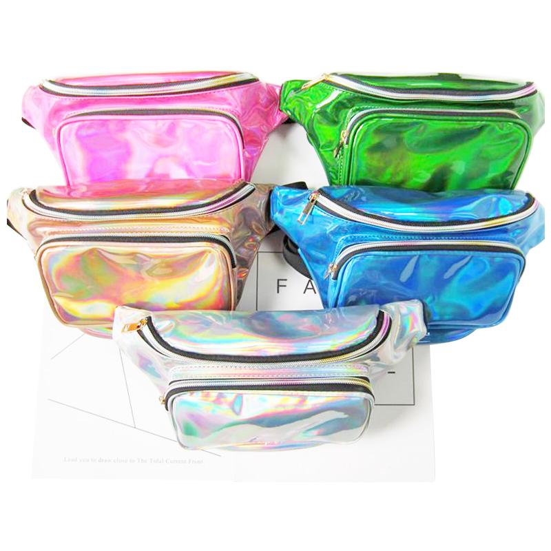Fanny Waist Bag Shiny Pack Bum Wallet for Women Festival Travel - Golden